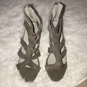 Brand new gray suede heels
